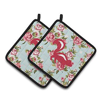 Skunk Shabby Chic Blue Roses   Pair of Pot Holders