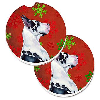Great Dane Red and Green Snowflakes Holiday Christmas Set of 2 Cup Holder Car Co