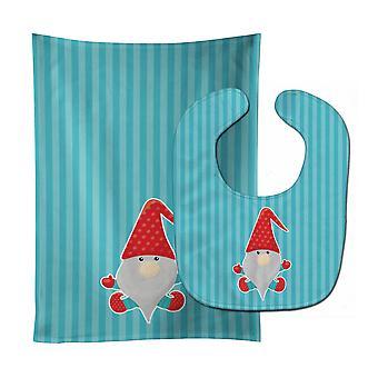 Carolines Treasures  BB8784STBU Merry Christmas Gnome #2 Baby Bib & Burp Cloth
