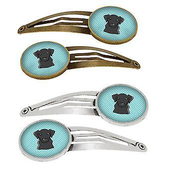 Damero azul Labrador negro juego de 4 pinzas de pelo de broches