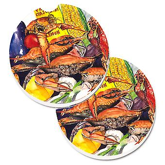 Carolines Treasures  1016CARC Veron's and Crabs Set of 2 Cup Holder Car Coasters