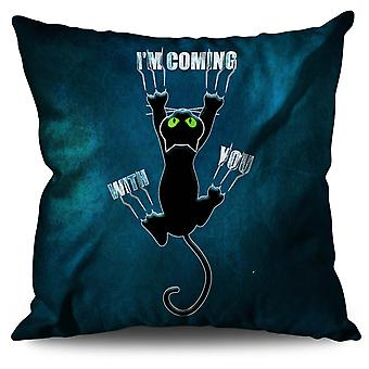 Attached Cute Funny Cat Linen Cushion Attached Cute Funny Cat | Wellcoda