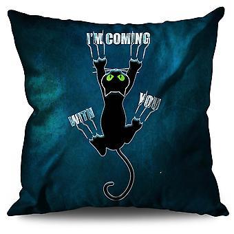 Beigefügten nette lustige Katze Leinen Kissen befestigt nette lustige Katze | Wellcoda
