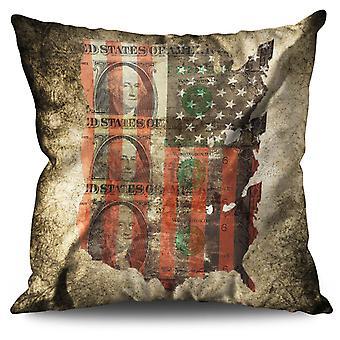 Dollaro di Benjamin bandiera USA cuscino in lino Benjamin dollaro bandiera Stati Uniti d'America | Wellcoda