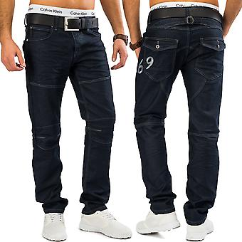 Men's jeans Nr. 1599, tapered leg denim indigo blue trousers dark blue cargo style