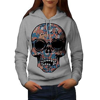 Cool morts Hipster Skull femmes GreyHoodie | Wellcoda