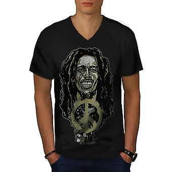 Peace Rasta Bob Marley Men BlackV-Neck T-shirt | Wellcoda