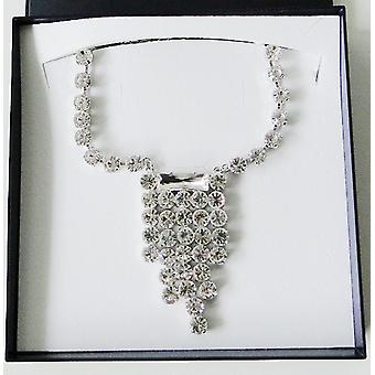Heine ladies necklace rhinestone chain necklace with faceted glass stones