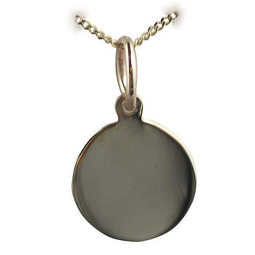 9ct Gold 10mm plain round disc with a curb chain