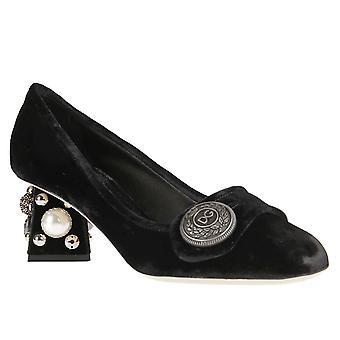 Dolce&Gabbana squared heels pumps in black velvet