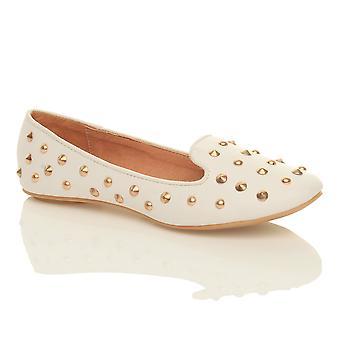 Ajvani Womens flachen Nieten Hausschuhe Slipper Slip-on Dolly Pumps Schuhe