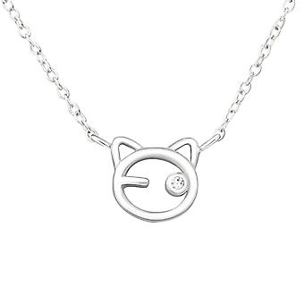 Cat - 925 Sterling Silver Jewelled Necklaces