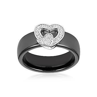 Herz Keramik schwarz, weiße Kristall Zirkonia Ring und Silber 925 - T52