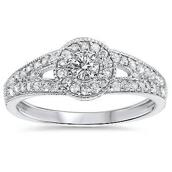 1 / 2ct de oro blanco 10K anillo Halo