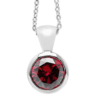 Burgmeister chain and pendant JBM1014-321, 925 sterling silver rhodanized, red zirconia