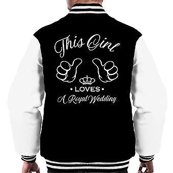 Harry und Meghan dieses Mädchen liebt eine königliche Hochzeit Männer Varsity Jacket