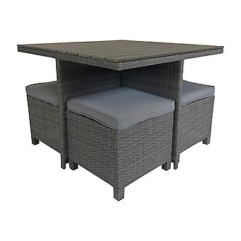 Charles Bentley Rattan & Polywood Cube Dining Set - In Grey
