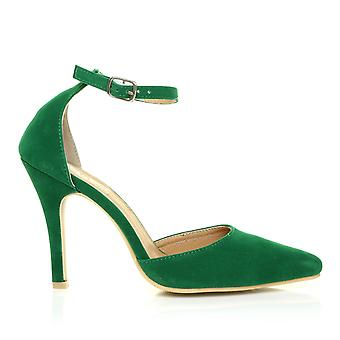 NEW YORK India Green Faux Suede Ankle Strap Pointed High Heel Court Shoes