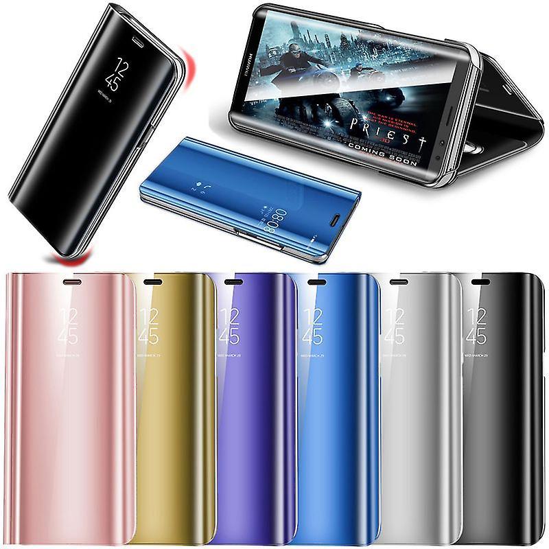 Für Samsung Galaxy J3 J330F 2017 Clear View Spiegel Mirror Smartcover Lila Schutzhülle Cover Etui Tasche Hülle Neu Case Wake UP Funktion