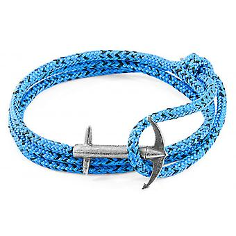 Anchor and Crew Admiral Silver and Rope Bracelet - Blue Noir