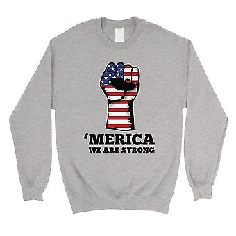 Merica We Strong Sweatshirt Round Neck Grey Political Quote Gifts