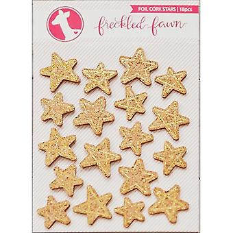 Freckled Fawn Cork Stickers-Gold Foil Stars