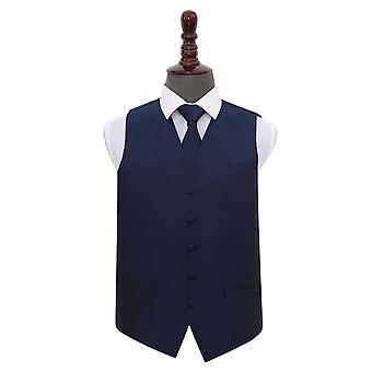 Navy Blue Solid Check Wedding Waistcoat & Tie Set