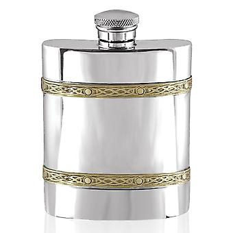 Celtic Golden Kells Double Brass Band Pewter Hip Flask - 6oz