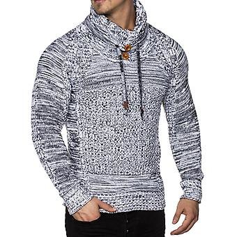 Tazzio fashion mens chunky knit sweaters with shawl collar white