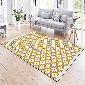 Designer velour carpet lattice gold cream