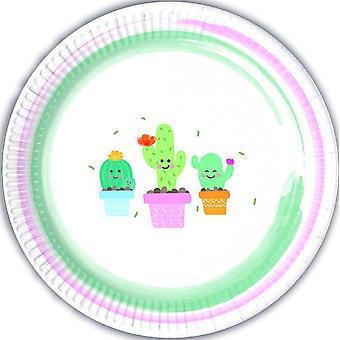 Cactus partij platen Ø 23 cm 8 stuk kinderen thema verjaardagsfeest