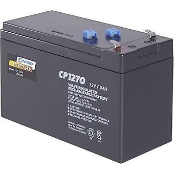 Conrad energy CE12V/7Ah 250202 VRLA 12 V 7 Ah AGM (W x H x D) 151 x 95 x 65 mm 4.8 mm blade terminal Maintenance-free