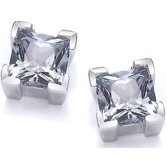 Cavendish French Crystal Square Earrings - Silver/Blue