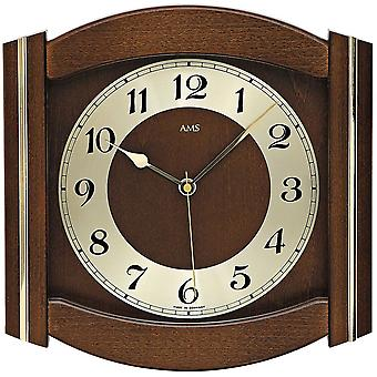 AMS 5822/1 wall clock radio mineral glass solid wood Walnut colours