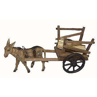 Donkey with wood cart cart for Christmas Nativity stable Nativity accessories