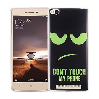 Handy Hülle für Xiaomi Redmi 3 Cover Case Schutz Tasche Motiv Slim Silikon TPU Dont Touch my Phone Grün