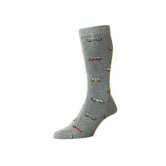 Clippesby men's combed cotton dress sock in grey | By Scott-Nichol