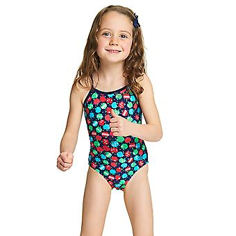 Zoggs Girls Appletizer Yaroomba Floral Swimsuit Multi-Colour with Apple Print