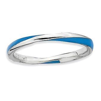 Argent sterling poli rhodié torsadée bleue émaillée 2,5 x 2,25 mm bague superposable - taille de bague: 5 à 10