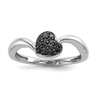 Sterling Silver Polished Prong set Open back Gift Boxed Rhodium-plated Black Diamond Small Heart Ring - Ring Size: 6 to
