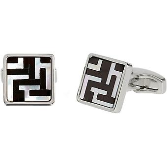 Simon Carter Mother of Pearl and Onyx Labyrinth Cufflinks - White/Black