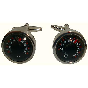 Bassin and Brown Thermometer Cufflinks - Black/Silver