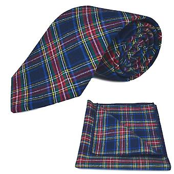 Traditionele marineblauw Tartan Tie & zak plein ingesteld, Check, Plaid
