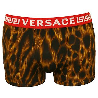 Versace Luxe Leopard Print Low-Rise Boxer Trunk, Black/Gold
