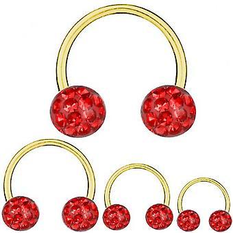 Cirkulær Barbell hestesko Guld belagte Titanium 1,2 mm, Multi krystalkugle rød | 6-12 mm