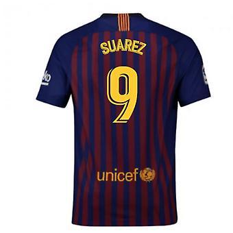 2018-2019 برشلونة المنزل نايكي لكرة القدم قميص (سواريز 9)-للأطفال