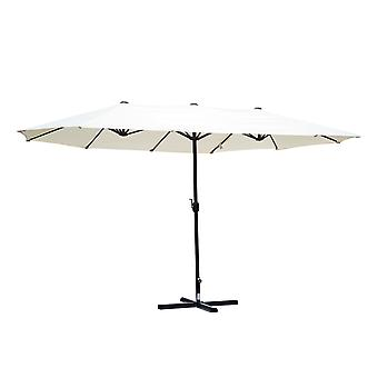 Outsunny Double-sided Crank Sun Shade Shelter 4.6M Cream White
