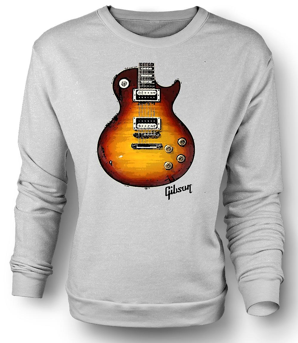 Mens Sweatshirt Gibson Les Paul Guitar Gold - Music