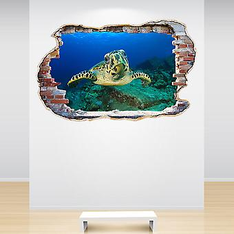 Full Colour Hawksbill Sea Turtle Smashed Wall 3D Effect Wall Sticker
