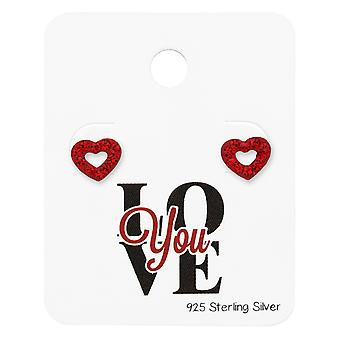 Heart Ear Studs With Crystal On Love You Card - 925 Sterling Silver Sets - W34118X